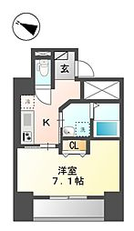 仮称)新宿区山吹町マンション新築工事 9階1Kの間取り