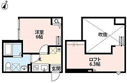 埼玉県越谷市蒲生西町2丁目の賃貸アパートの間取り