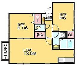 メゾンドクレール門松[2階]の間取り