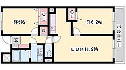 兵庫県高砂市荒井町南栄町の賃貸マンションの間取り