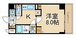ベラジオ京都西院ウエストシティIII 2階1Kの間取り