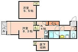 リアンアーブル博多駅東[3階]の間取り