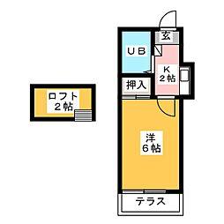 レオパレス須ヶ口[1階]の間取り