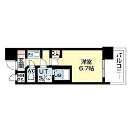名古屋市営鶴舞線 上前津駅 徒歩5分の賃貸マンション 4階1Kの間取り