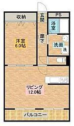 宮崎県宮崎市上野町の賃貸マンションの間取り