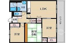 大阪府茨木市上穂積2丁目の賃貸マンションの間取り