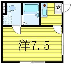 都営三田線 西巣鴨駅 徒歩6分の賃貸マンション 2階1Kの間取り