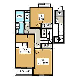 静岡県富士宮市朝日町の賃貸アパートの間取り