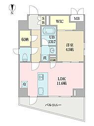 EIRAKU apartment 8階1LDKの間取り