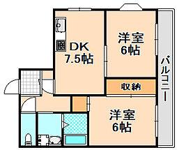 兵庫県伊丹市大鹿4丁目の賃貸マンションの間取り