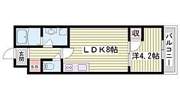 山陽電鉄本線 西新町駅 徒歩7分の賃貸マンション 1階1LDKの間取り