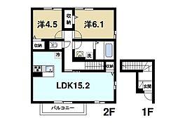 JR桜井線 天理駅 徒歩12分の賃貸アパート 2階2LDKの間取り