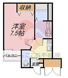 北花田ジーイーアン 1階1Kの間取り