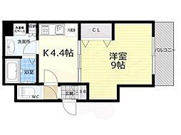 京都市営烏丸線 京都駅 徒歩8分の賃貸マンション 5階1Kの間取り
