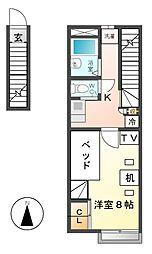 レオパレスクレール田島[2階]の間取り