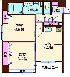神奈川県横浜市神奈川区西神奈川2丁目の賃貸マンションの間取り