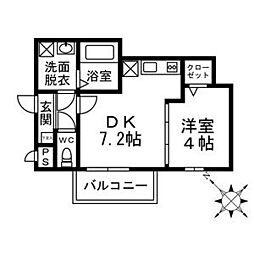 グラシューズメゾン高宮東 3階1LDKの間取り
