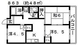 浅野マンション[203号室号室]の間取り