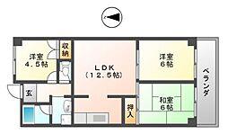 ユニーブル藤井寺[5階]の間取り
