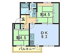 UR桂木 4号棟[402号室]の間取り