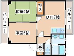 JR山陽本線 明石駅 バス20分 吉田下車 徒歩8分の賃貸アパート 1階2DKの間取り