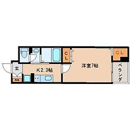 JR東海道本線 東静岡駅 徒歩10分の賃貸マンション 5階1Kの間取り