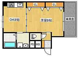 阪神本線 新在家駅 徒歩7分の賃貸マンション 1階1DKの間取り