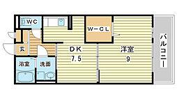 セジュール亀山[A103号室]の間取り