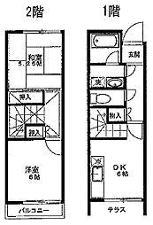 [テラスハウス] 東京都大田区鵜の木1丁目 の賃貸【/】の間取り
