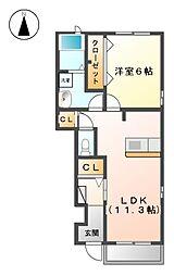 カーサ花の樹B[1階]の間取り
