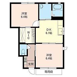 カサベルテ・ミヤツキB[1階]の間取り