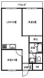 ロイヤルマンション大倉山[202号号室]の間取り