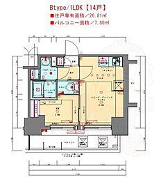 プレサンス兵庫駅前 12階1LDKの間取り