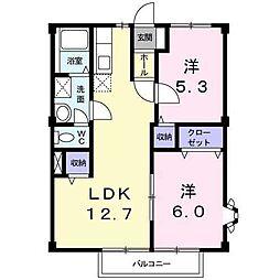 静岡県三島市佐野の賃貸アパートの間取り