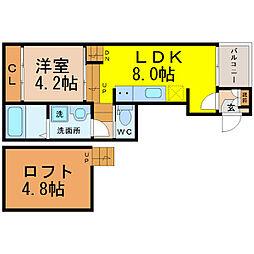 愛知県名古屋市東区豊前町2丁目の賃貸アパートの間取り