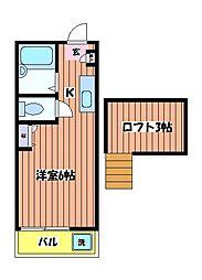 東京都東大和市南街6丁目の賃貸アパートの間取り