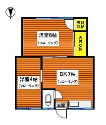 神奈川県川崎市幸区南加瀬1丁目の賃貸アパートの間取り