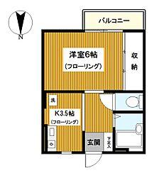 神奈川県横浜市鶴見区潮田町3丁目の賃貸アパートの間取り