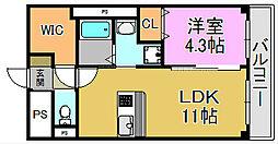 大阪府堺市堺区中三国ヶ丘町7丁の賃貸アパートの間取り