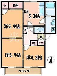 東京都清瀬市竹丘3丁目の賃貸アパートの間取り