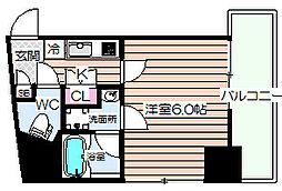 Luce Shinfukushima(ルーチェシンフクシマ) 4階1Kの間取り