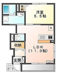 JR東海道本線 戸塚駅 バス11分 大運寺下車 徒歩1分の賃貸アパート 1階1LDKの間取り
