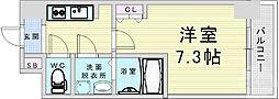 Osaka Metro堺筋線 南森町駅 徒歩9分の賃貸マンション 9階1Kの間取り