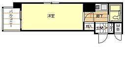 アップル天王寺6階Fの間取り画像