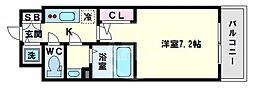 エスリード大阪上本町ブランシュ 7階1Kの間取り