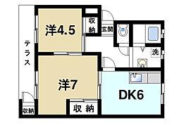カーサ東生駒[1階]の間取り