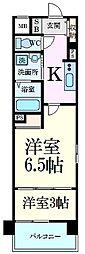 阪神本線 芦屋駅 徒歩6分の賃貸マンション 2階1LDKの間取り