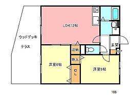 大阪府河内長野市喜多町の賃貸アパートの間取り