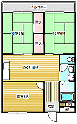 パークハイム住之江[203号室]の間取り