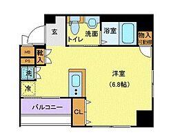 東京メトロ半蔵門線 水天宮前駅 徒歩3分の賃貸マンション 4階1Kの間取り